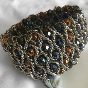 Jewelry - BEADED WIDE METAL STRETCH BRACELET